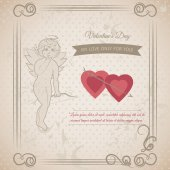 Vintage abstract background with hand drawing elements for Valentine's Day — Stock Vector