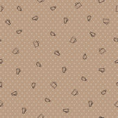 Seamless pattern with different coffee cups on background with dots — Vecteur