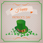 Happy St. Patrick's Day abstract background with clover leafs and leprechaun hat — Vettoriale Stock