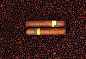 Cuban  Cigars and Coffee Beans — Stock Photo