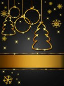Christmas greeting card, elegant, black and gold — Stock Photo