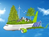 Ecology, eco flying collage — Stok fotoğraf