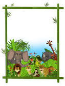 Wild cartoon animals frame — Stock Photo