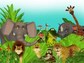 3d cartoon wild jungle animals  — Stock Photo