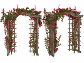 Romantic arbor with  pink  roses — Stock Photo