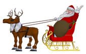 Santa Claus with reindeers and sleigh — Stock Photo