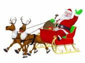 Reindeer sleigh and Santa — Stock Photo