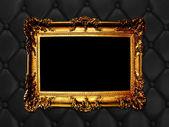 Vintage woodern frame on the leather backround — Stock Photo