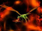 Dragão no fogo — Fotografia Stock