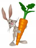 Cartoon Easter  bunny with a big carrot — Stock Photo