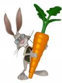 Cartoon Easter  bunny with a big carrot — Foto de Stock