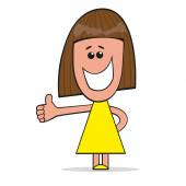 Girl gesturing Thumbs Up — Stockvector