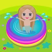 Girl in swimming pool — Vettoriale Stock