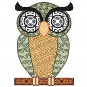 Patterned colored owl — Stock Vector