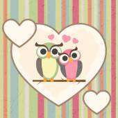 Greeting card with owls in love — Stock Vector