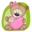 Bear girl with heart — Stock Vector #62464063