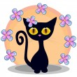 Black kitten with flowers — Vetor de Stock  #62709985