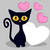 Zwart katje met hart — Stockvector
