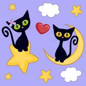 Miłośników czarne kocięta — Wektor stockowy