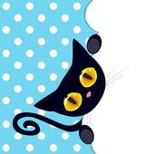 Black kitten peeking out — Stock Vector