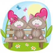 Lovers Cats card — Vector de stock