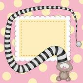 猫帽子カードで — ストックベクタ