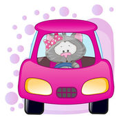 Cat girl in a car — Stock Vector