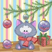 Cute  Cat under the tree — Stock Vector