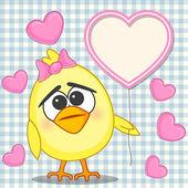 Chicken with hearts card — Stockvektor