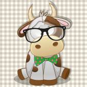 Cute Hipster Cow — Stock vektor