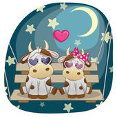 Lovers Cows card — Stock Vector