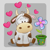 Cow with hearts and flower — Stock Vector