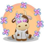 Ko med blommor kort — Stockvektor