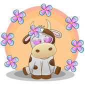 Cow with flowers card — Stockvektor