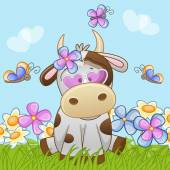 Cute Cow with flowers — Stock Vector