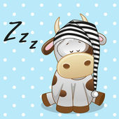 Cute Sleeping Cow — ストックベクタ
