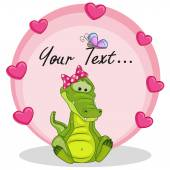 Crocodile with hearts — Stock Vector