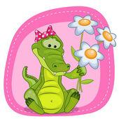 Crocodile with flowers card — Stock Vector