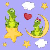 Lovers Crocodiles card — Stock Vector