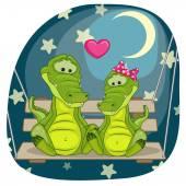 Cartão de crocodilos amantes — Vetor de Stock