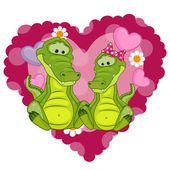 Two Crocodiles with heart — Stock Vector