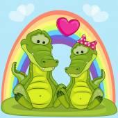 Lovers Crocodiles card — Stockvector