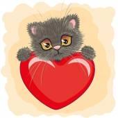 Gattino carino con cuore — Vettoriale Stock