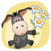 Donkey with flowers card — Stock Vector