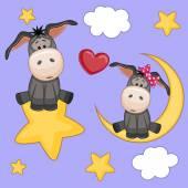 Lovers Donkeys card — Stock Vector