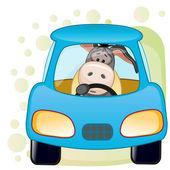 Cute  Donkey in a car — Stok Vektör