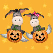 Halloween Cartoon Donkeys — Stock vektor
