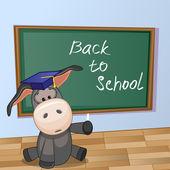 Cartoon Donkey wrote in classroom — Stock Vector