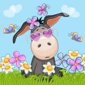 Cute Donkey with flowers — Stock vektor