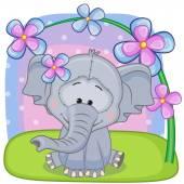 Elefante com cartão de flores — Vetor de Stock